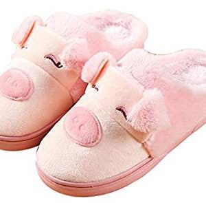 Blubi Women's Winter Piggy Skid-proof Closed Toe House Shoes Ladies Slippers Cute Slippers - Pink