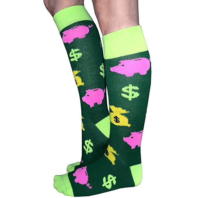 Women's Piggy Bank Knee Socks