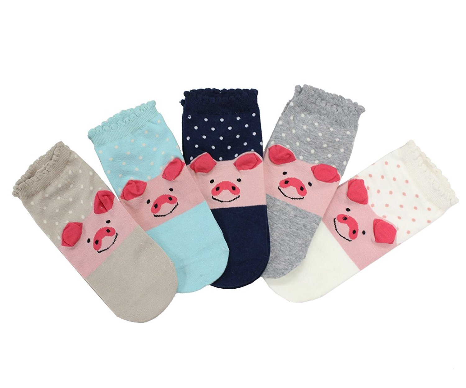 CozyWow WomensGirls Fun Crazy Low Cut PigElephantCat Socks (5 Pack)