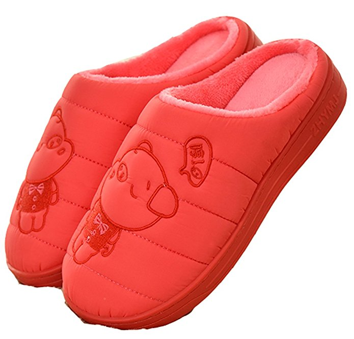 D.S.MOR Women's Piggy Warm Slippers Home Slippers Red