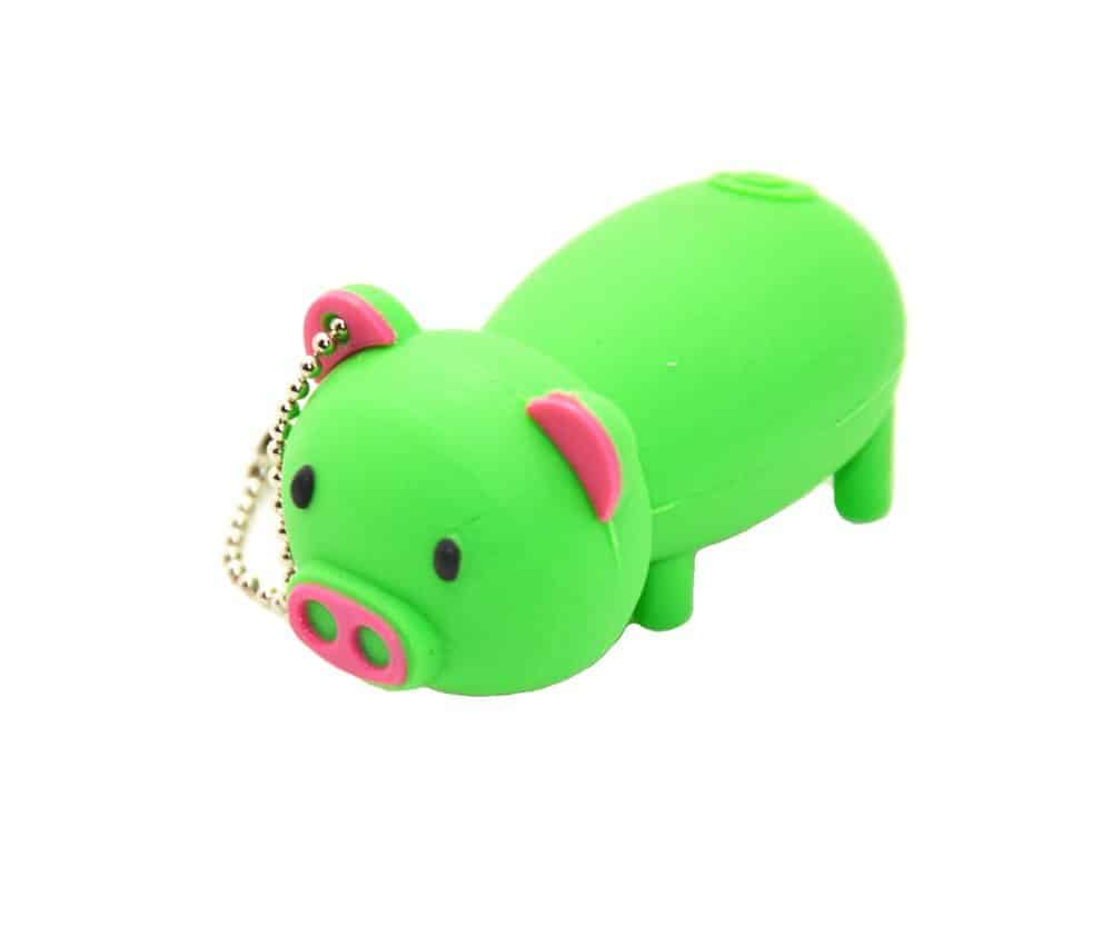 Cartoon 32GB USB 2.0 Flash Drive - Green Piggy Pig Thumb Drive
