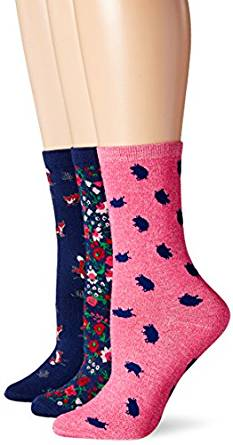 Jane & Bleecker Women's Winter Garden Piggy Fox Play 3PP Medieval BlueFuchsia Purple Heather