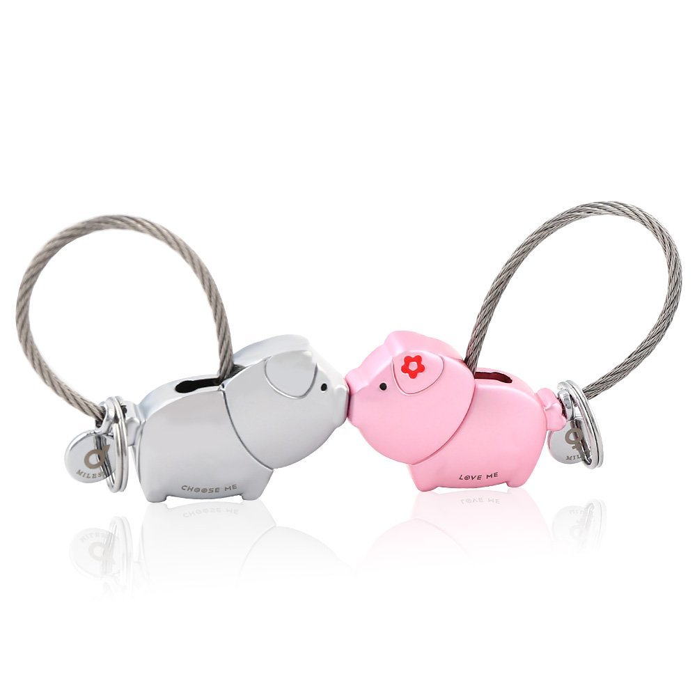 MILESI Sweet Kiss Pigs Keychain with Magnetism one pair Valentine's Love Token (Silver Pink)