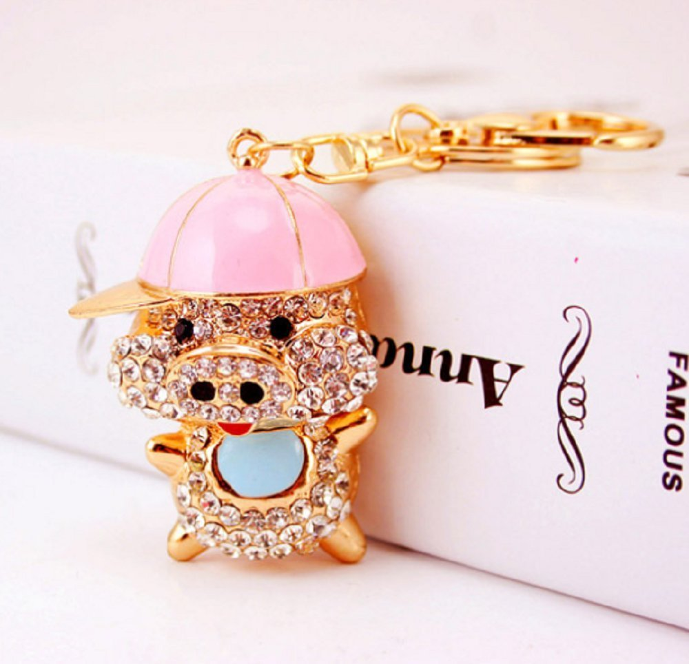 xmasmile cute pig style flash crystal key chain the piggy store