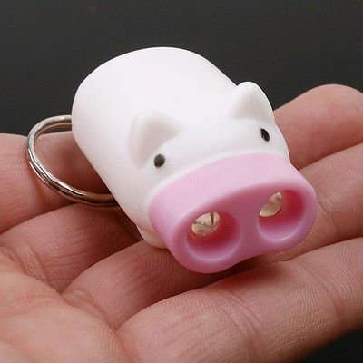 Atoplee Mini Cute Portable Pig 2 LED Flashlight Keychain
