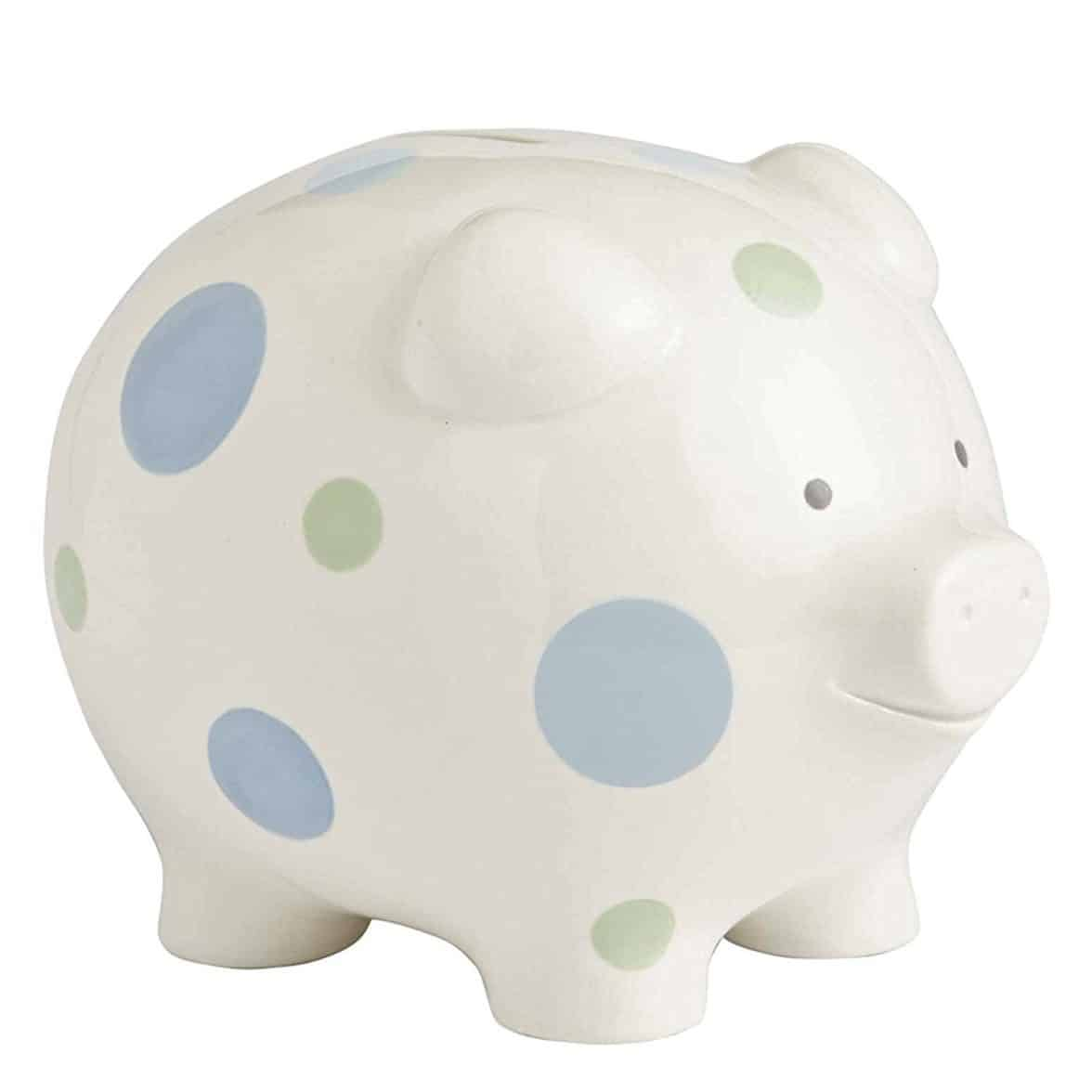 Beginnings by Enesco Big Polka Dot Piggy Bank, 7 inches, Blue