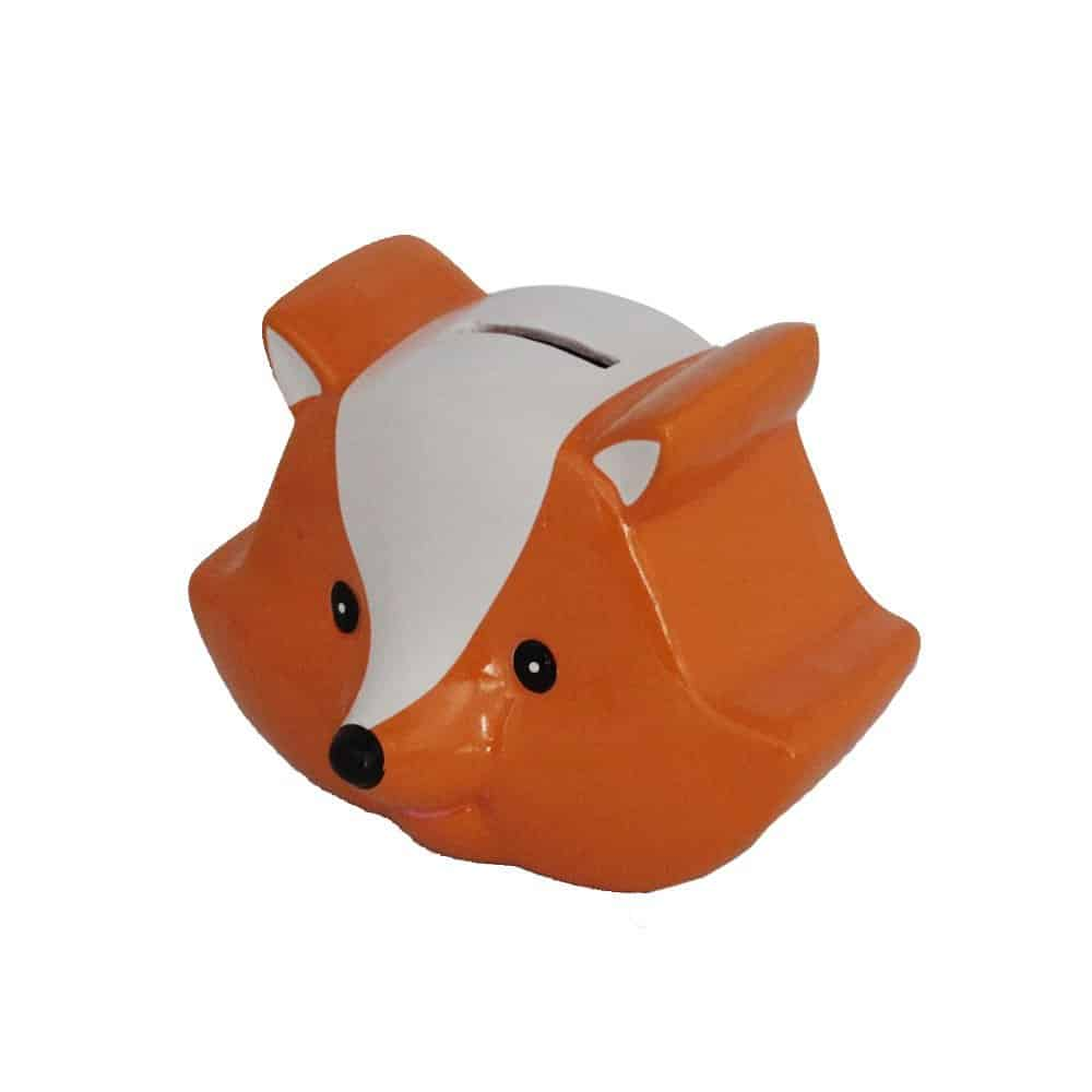 Ceramic Fox Children Gift Coin Bank in Orange and Whit