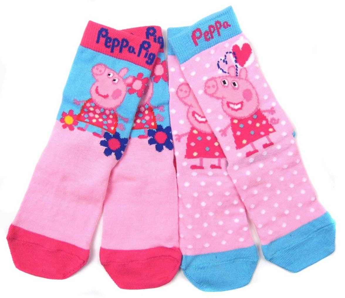 Girls Peppa Pig Two Pack Sock Ankle Socks 3-5.5 6-8 and 9-12 Summertime Peppa