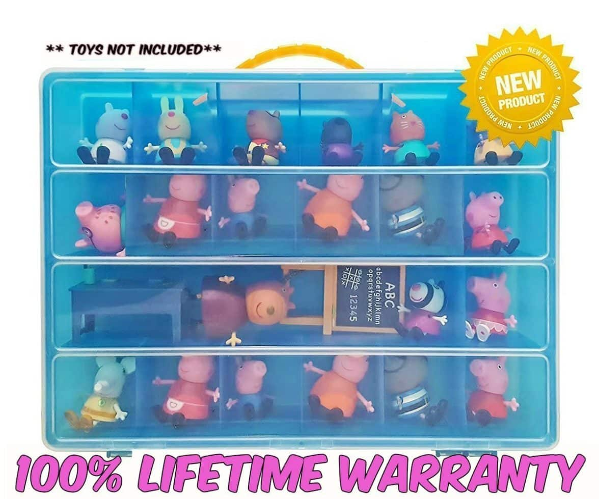 Life Made Better Toy Organizer with Carrying Handle, Fits Up to 40 Figures and Compatible with Peppa Pig Mini Figures, Blue (1)