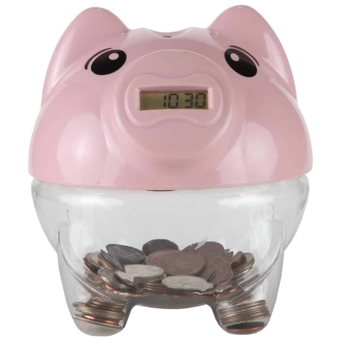 Lily's Home Kid's Money Counting Digital Coin Bank - Pink Piggy Bank