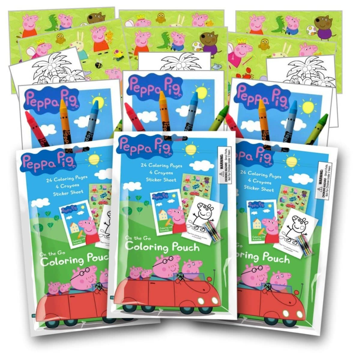 Peppa Pig Coloring Pack Party Favors with Stickers, Crayons and Coloring Activity Book in a Resealable Pouch ~ Plus Separately Licensed 3X3 Inch Coloring Fun Stickers Included