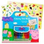Peppa Pig Giant Coloring Book Tote Set with Peppa Pig Stickers and Twist Crayons (Includes Bonus Sheet of Zoo Animal Stickers)