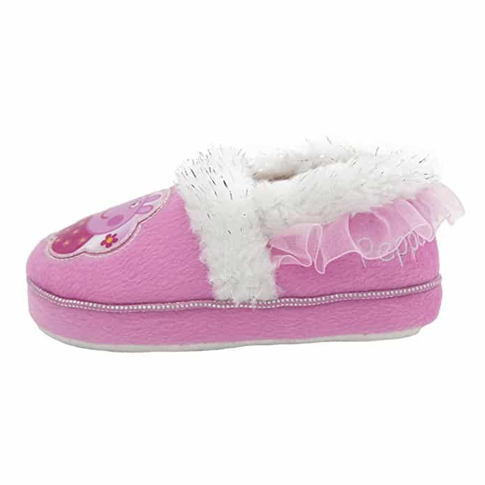 Peppa Pig Girls Tinseled Faux Fur Trim Tutu Heel Slippers