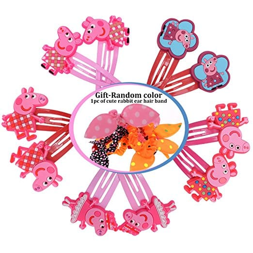 Peppa Pig Hair Clips Bows Hairpin Girls Children Headwear (5 Matching Pairs)