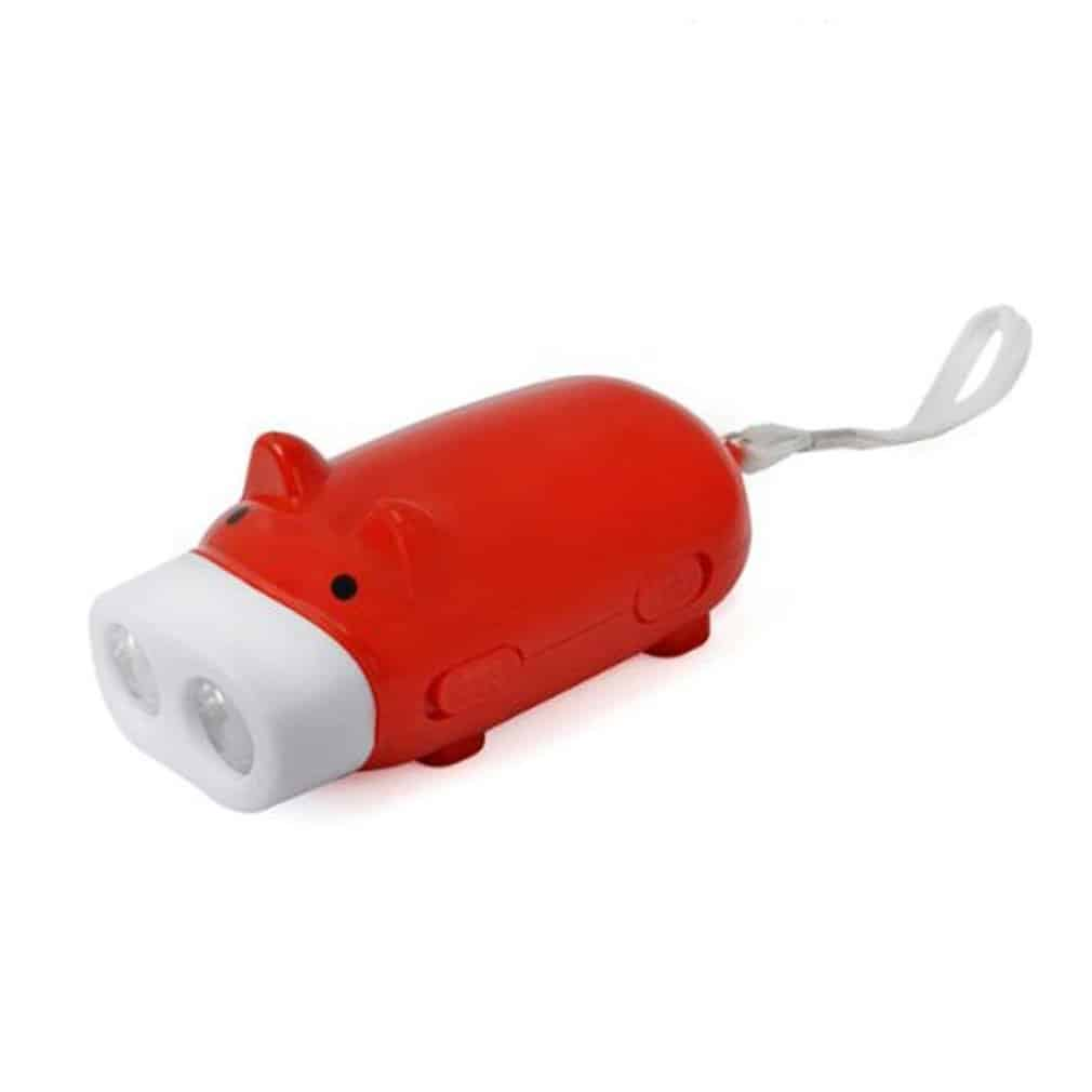RuiChy Mini Pig Hand Pressing Dynamo Keychain LED Flashlight Torch