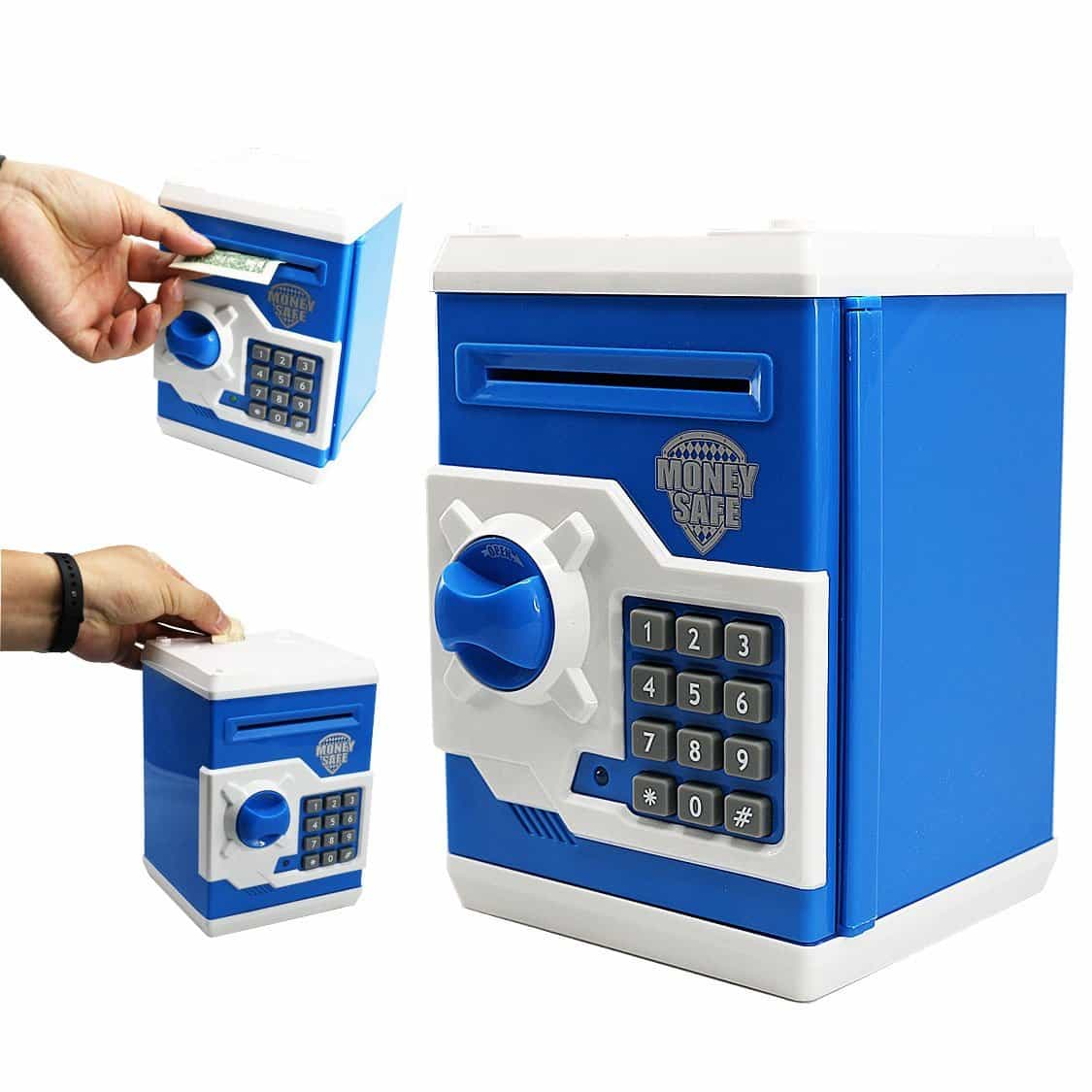 SZAT Funky Quality Electronic Money Bank Piggy Money Locker Coins Cashes Auto Insert Bills Safe Box Password ATM Bank Saver(Blue)