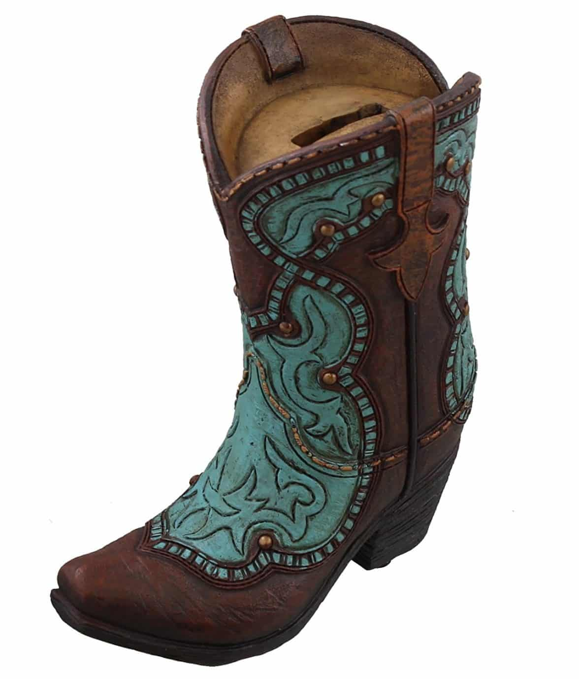 Western Cowboy Boot Piggy Bank - Turquoise Accents