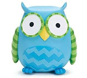 Whooo's Hootie Cutie Owl Shaped Baby Piggy Money Coin Bank (Blue & Green)