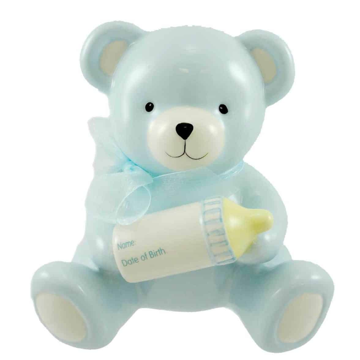 Baby Boy's Blue Bear Piggy Bank Holding Baby Bottle With Birth Information Infant Nursery Decor And Birth Gift