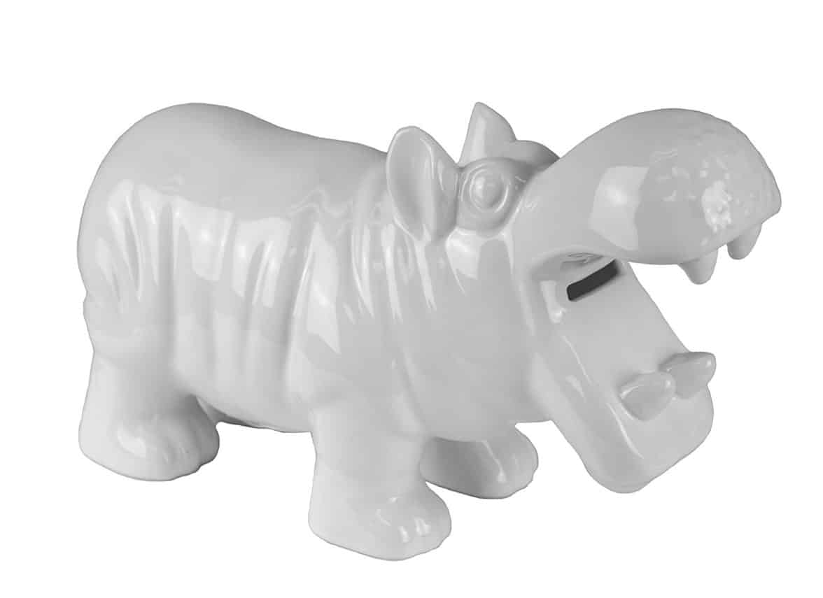 Ceramic Hippo Coin Bank, 4 x 10.5 x 6.5, White