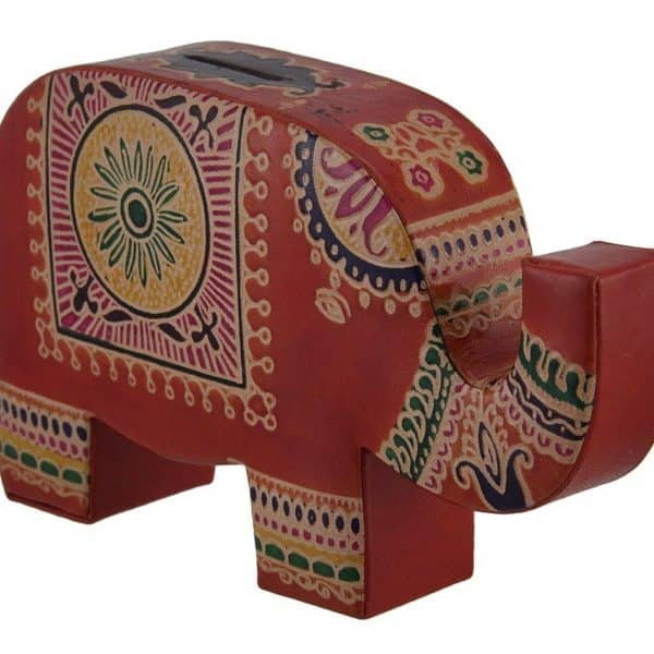 Colorful elephant trunk up embossed leather coin bank Decorative piggy banks for adults
