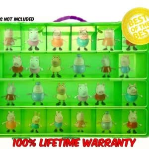 Life Made Better Toy Organizer with Carrying Handle, Fits Up to 40 Figures and Compatible with Peppa Pig Mini Figures, Lime