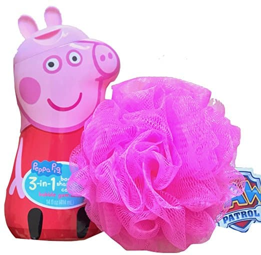 Peppa Pig Children's 3 in 1 Body, Shampoo, Conditioner Bubble Gum Scented With Bath Pouf