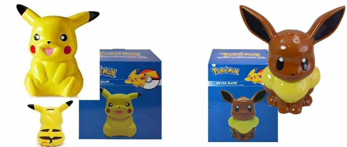 Pokemon Pikachu and Eevee Ceramic Coin Piggy Bank Set