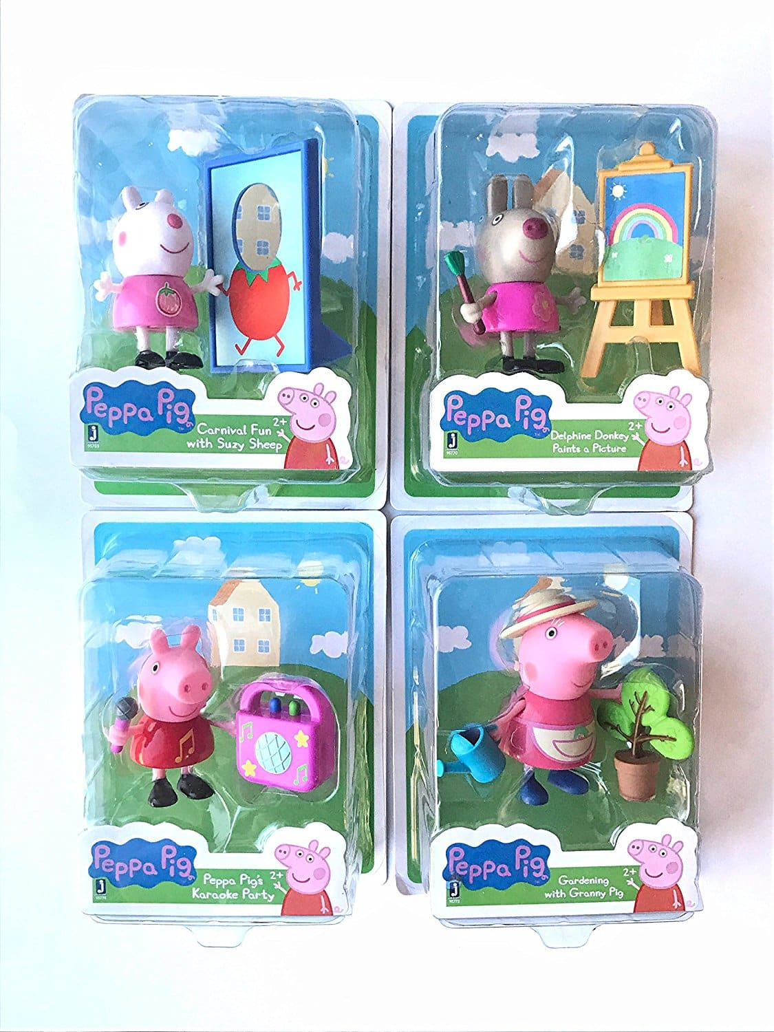 Set of 4 ~ Peppa Pig's Karaoke Party, Carnival Fun with Suzy Sheep, Delphine Donkey Paints a Picture and Gardening with Granny Pig