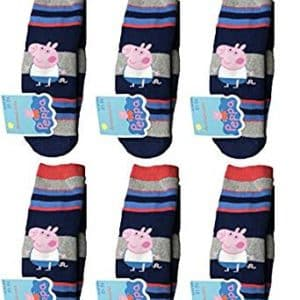 6 Pack of Peppa Pig George No.1 Boys Socks Size 13-2 (US) 31-34 EU