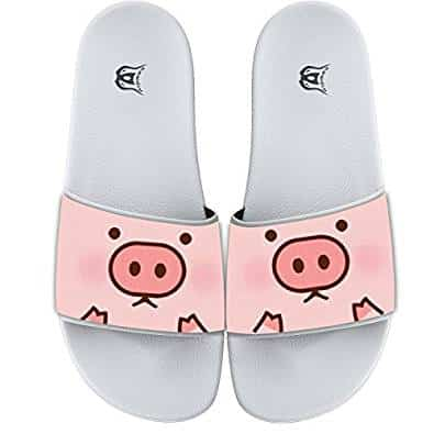 COWDIY Fashion Slide Sandals Piggy Pig Cartoon Cute Beach Slippers Soft Flip Flops Bath Slippers For Men And Women
