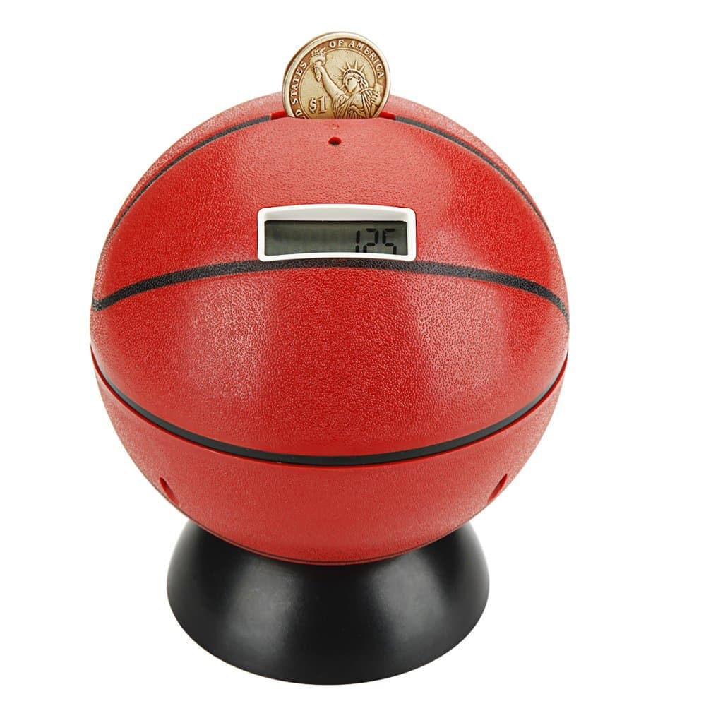 Digital Coin Bank Counter Sorter, NUWELL Basketball Talking Saving Banks Money Box with Electronic Counting Function, Automatic LCD Display for US Coins