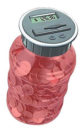 Digital Coin Counter By Digital Energy Pennies Nickles Dimes Quarter Savings Jar Transparent Red w LCD Display