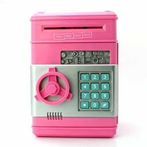 Mini ATM Coin Bank, Shopline Electronic Money Bank Machine, Atm Piggy Banks Coin Saving Boxes Toys Gifts for Kids (Pink)