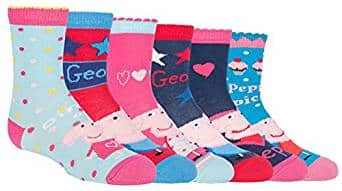 Peppa Pig - 6 Pack Girls Boys Kids Fun Colorful Cotton Peppa Pig and George Crew Socks (4-6 US, PPB3)Peppa Pig - 6 Pack Girls Boys Kids Fun Colorful Cotton Peppa Pig and George Crew Socks (4-6 US, PPB3)