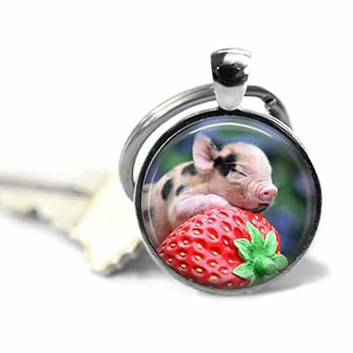 Pig-Key-Chain-Strawberry-Pig-Pig-Keychain-Animal-Lover-Gift-Key-Chain-Nature-Key-Chain