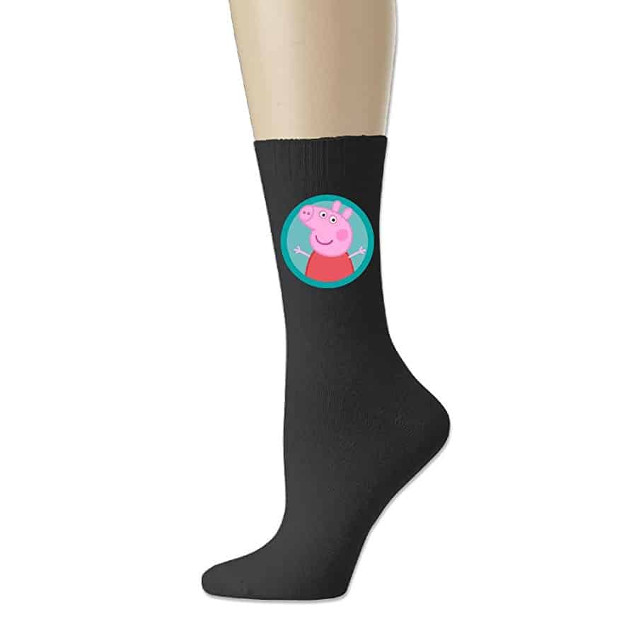 Reply1994 Peppa Pig Unisex Cotton Crew Socks Black