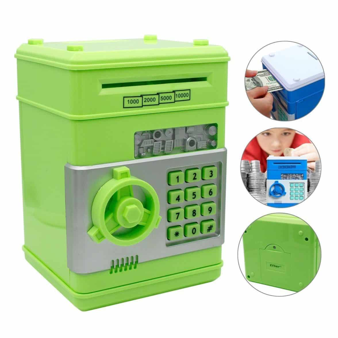Shine Toys New Style Electronic Money Saving Box Cash Coin Can Safe ATM Bank Novelty Tin Birthday Gift Safe Box Bank Neon Green