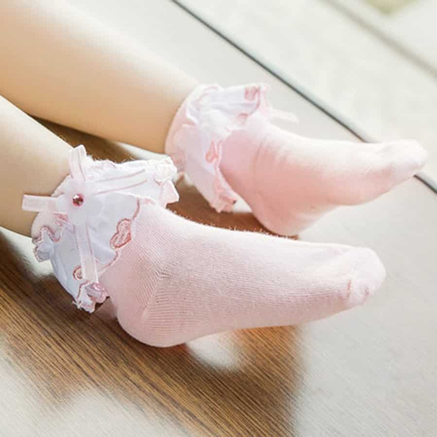 ZZ Socks Baby-Girls Newborn Eyelet Frilly Lace Socks Princess Dress Socks
