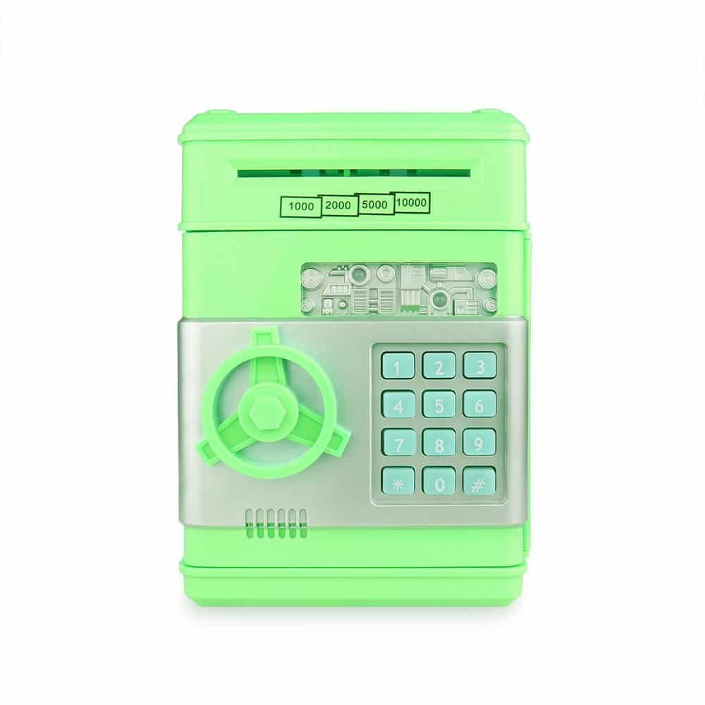 Cash Bank Sunsbell Password Box Saving Banks ATM Coin Saving Coin Cash Banks for Children's Day (Green)