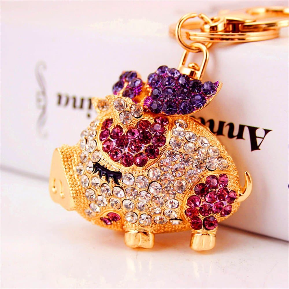 Bling Beauty Fashion Novelty Gifts Trinket Rhinestone Cute Bow Pig Keychain,Charm Gold Plated Women Bag Pendant Keyring (Purple)