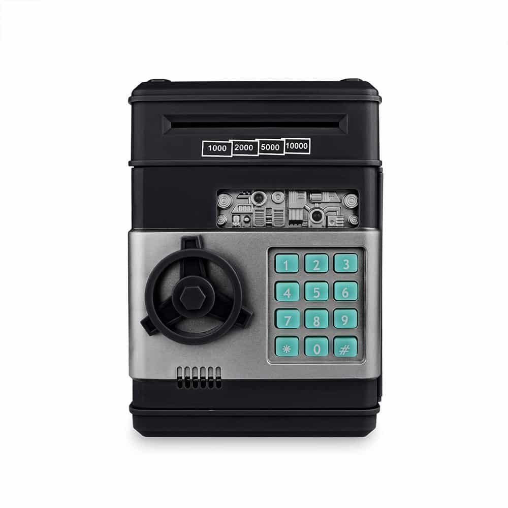 Cash Bank Sunsbell Password Box Saving Banks ATM Coin Saving Coin Cash Banks for Children's Day (Black)