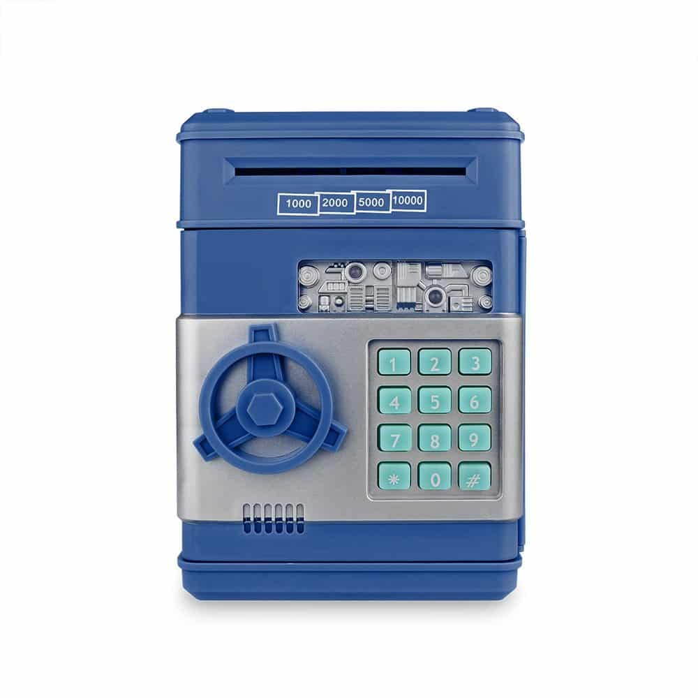 Cash Bank Sunsbell Password Box Saving Banks ATM Coin Saving Coin Cash Banks for Children's Day (Blue)