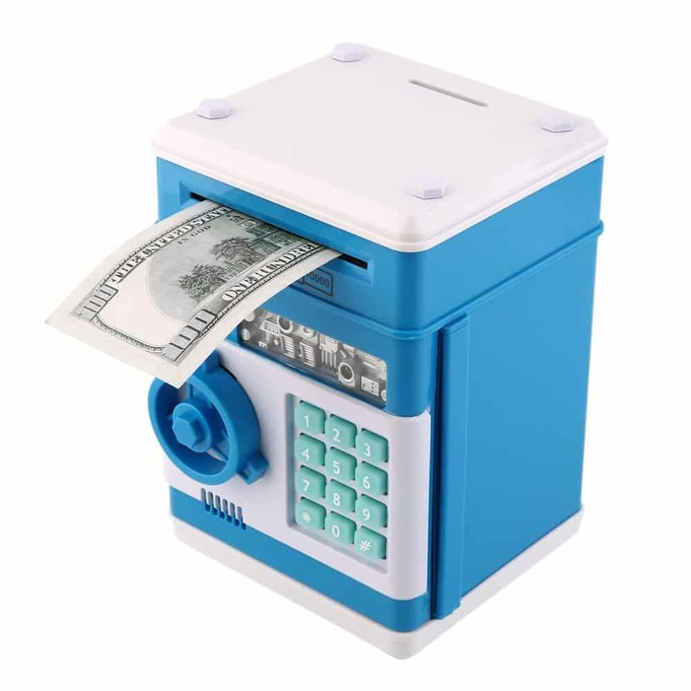 GuDoQi Money bank password piggy bank digital electronic bank for kids mini ATM coin saving banks toys gifts birthday gifts for kids Blue White