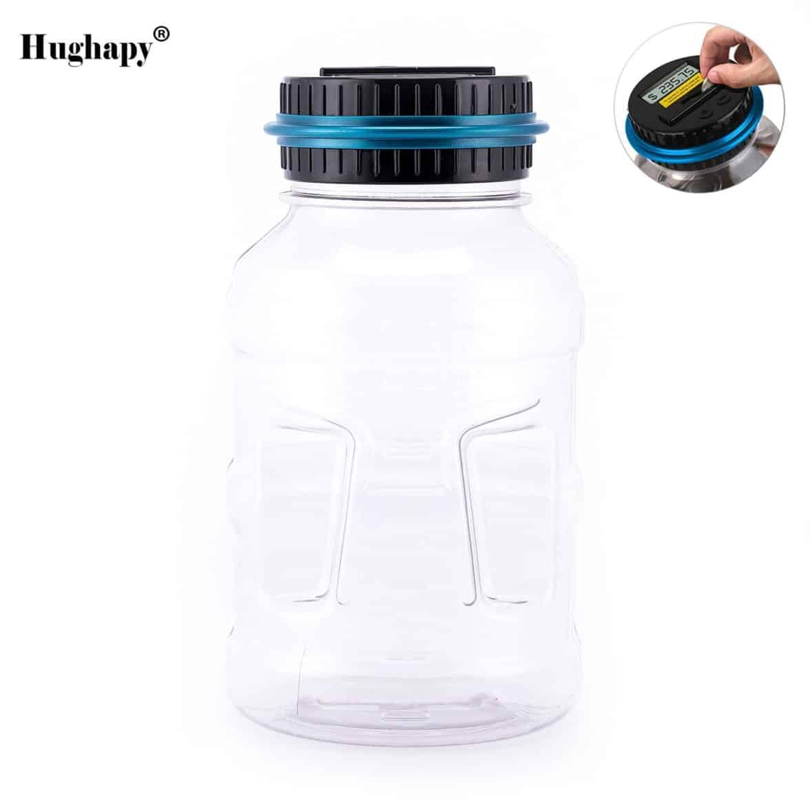 Hughapy Digital Coin Saving Money Box Jar Automatic Clear Electronic Counting Piggy Bank