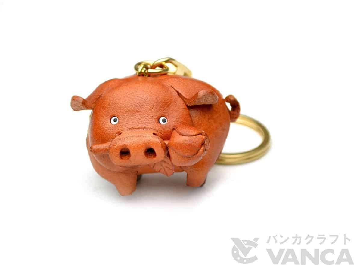 Pig-Animal-3D-Leather-KeychainL-VANCA-CRAFT-Collectible-Keyring-Charm-Pendant-Made-in-Japan