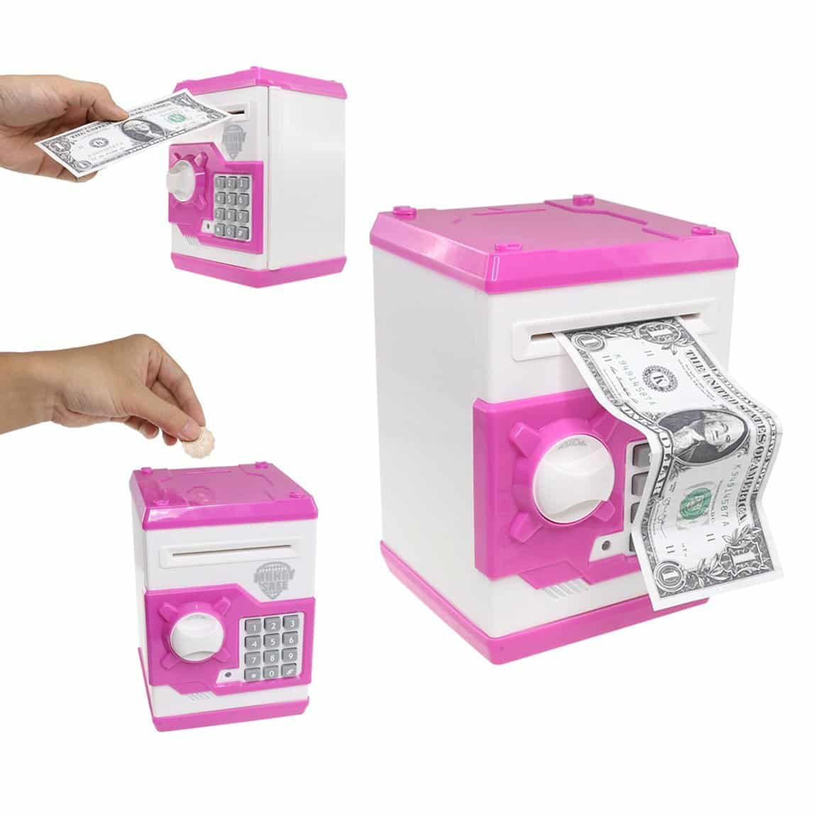 SZAT Funky Quality Electronic Money Bank Piggy Money Locker Coins Cashes Auto Insert Bills Safe Box Password ATM Bank Saver(Pink)
