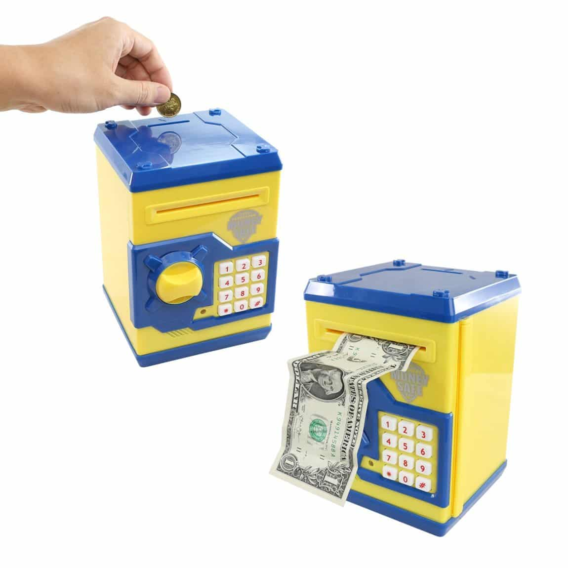 SZAT Funky Quality Electronic Money Bank Piggy Money Locker Coins Cashes Auto Insert Bills Safe Box Password ATM Bank Saver(Yellow)