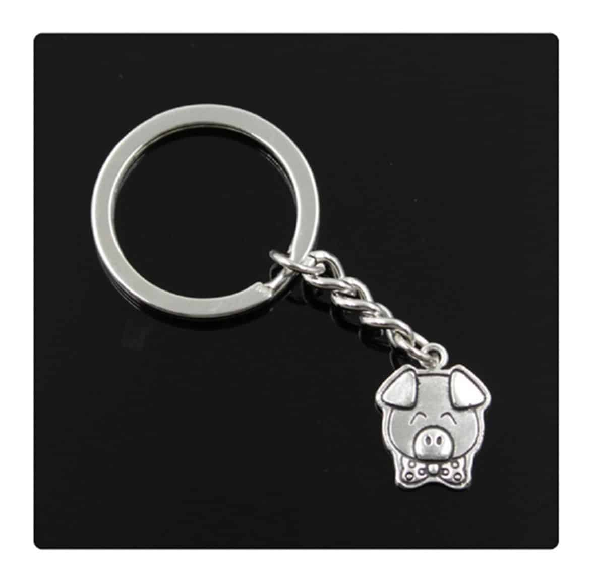 fashion men 30mm keychain DIY metal holder chain vintage pig 2015mm antique silver pendant