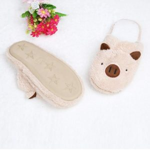Amiley Women's Plush House Floor Soft Piggy Scuffs Slipper Cotton-padded Shoes Coffee